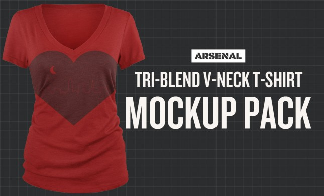 Tri-Blend V-Neck T-Shirt Mockup Templates Pack