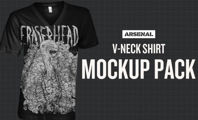 Photoshop V-Neck Shirt Mockup Templates Pack