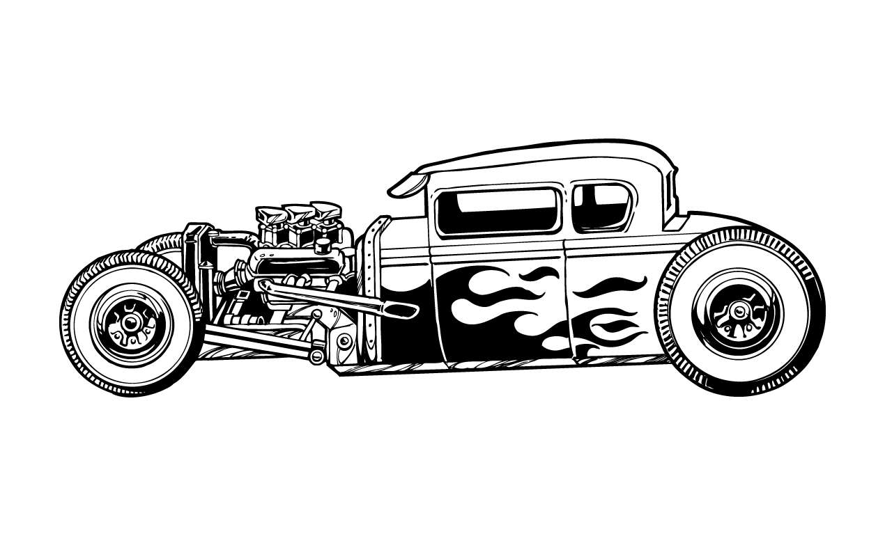 Running Wild Line Art By Brn Mny Coches Clasicos Hot Rods Ilustraciones