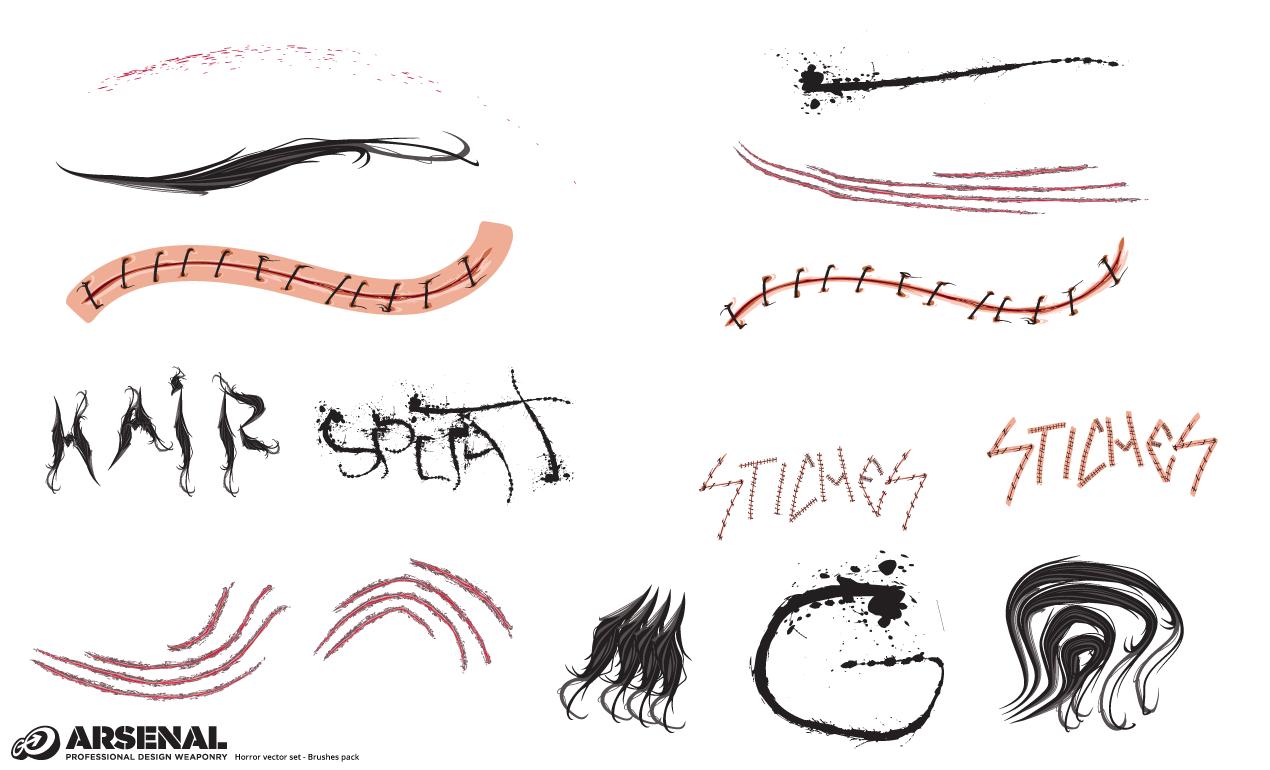 Horror Vector Brushes Pack for Adobe Illustrator