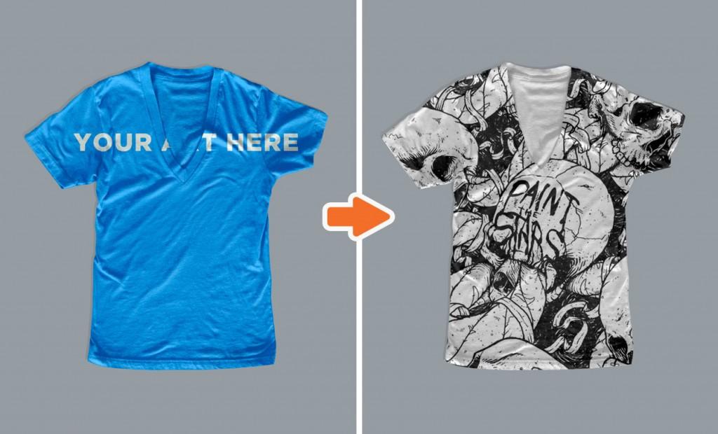 Ladies Deep V-Neck T-Shirt Mockup Templates Pack
