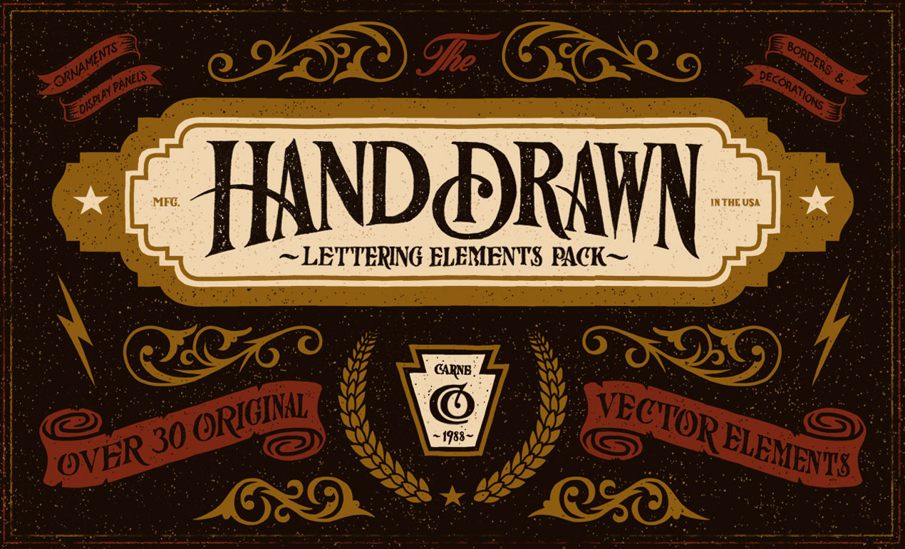 The Hand Drawn Lettering Elements Vector Pack